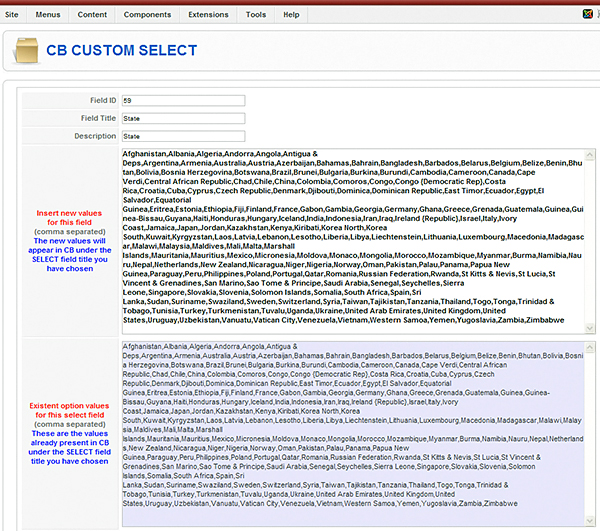 CB Custom Select - Cosmin Damian 2008 - Joomla extension for Community Builder