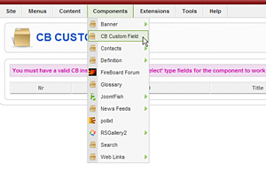 CB Custom Select - Joomla Menu